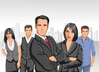Business people with city on the background