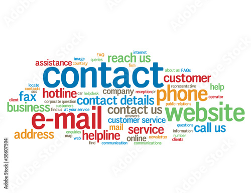 """CONTACT"" Tag Cloud (customer service call us hotline details)"