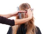 hairdresser cutting models fringe poster