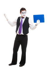 mime businessman with clipboard