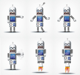 Robot Android Illustration Rocket