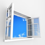 Open plastic window to blue clouds sky