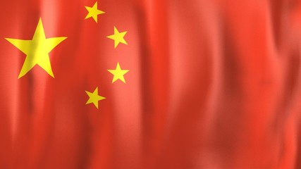 3D Animation of national flag of China (Asia)