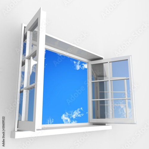 Open plastic window to blue clouds sky - 38609522