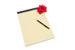 Blank yellow lined notepad with copy-space, red bow and a pen