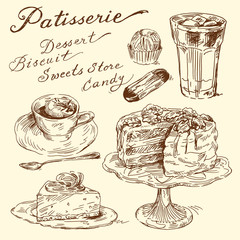 cake, biscuit, coffee - hand drawn elements