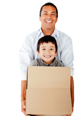 Man moving with his family
