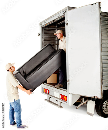 Delivery men with a sofa