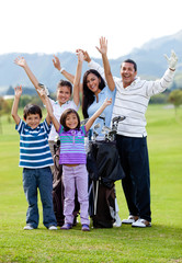 Happy golf family