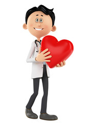 doctor cartoon is holding a heart with love