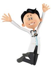 doctor cartoon is happy