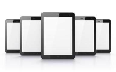 Black tablets on white background