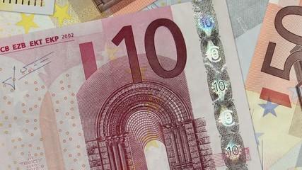 Euro bills scrolling