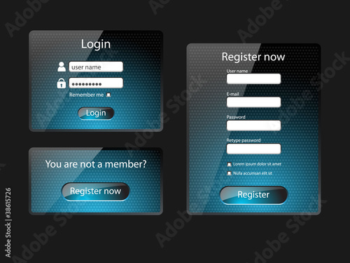 Login and register web screens-vector