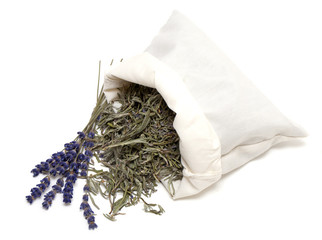dried lavender lrafs in a cotton bag