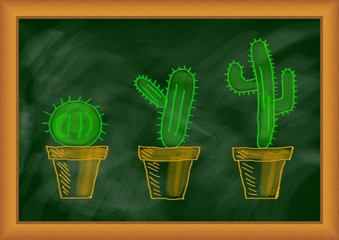Drawing of cactuses