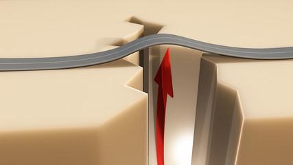 Crepa terremoto terreno strada freccia