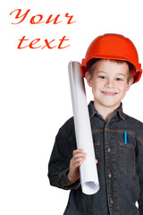 little boy with drawing and in hard hat