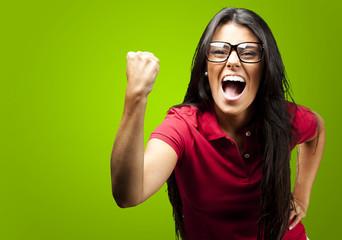 woman gesturing victory