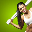 sporty woman holding towel