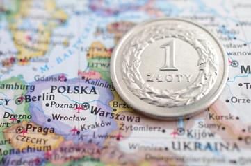 Złotówka mapa waluta Europa