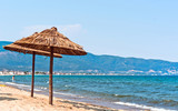 Beautiful photo a summar vacation with  beach and mountains poster