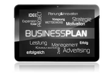 Tablet mit Business-Plan