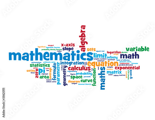 """MATHEMATICS"" Tag Cloud (algebra geometry statistics equations)"