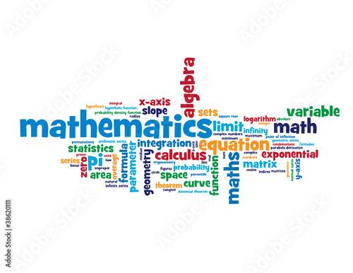 """MATHEMATICS"" Tag Cloud (algebra geometry statistics equations)"