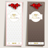 Card notes with ribbons. Grey and white invitations