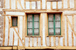 Windows of medieval timberframe house in Dinan, Brittany