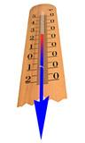 Thermometer shows temperature decrease poster