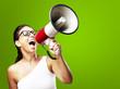 woman shouting using megaphone