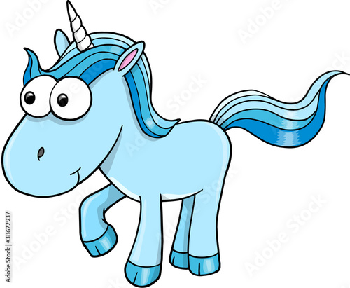 Goofy Blue Unicorn Vector Illustration