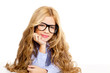 blond fashion kid girl with glasses portrait on white