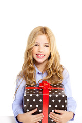 blond kid girl with present gift red ribbon box