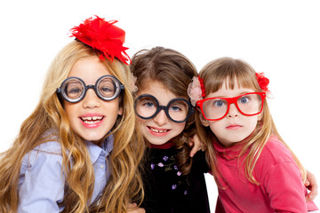 nerd children girl group with funny glasses