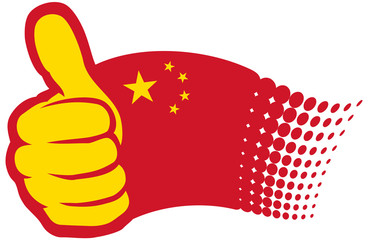China flag. Hand showing thumbs up.