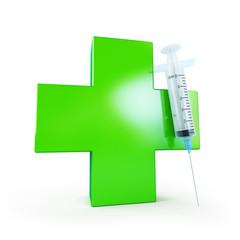 medical cross and syringe