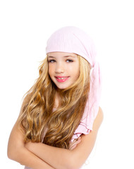 kid girl with pirate handkerchief beautiful portrait