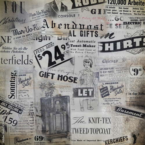 Grunge background with  old magazines from 1938. © Mirma