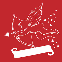 cupid on red & white scroll