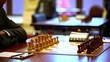 Hand arranges figures on chessboard