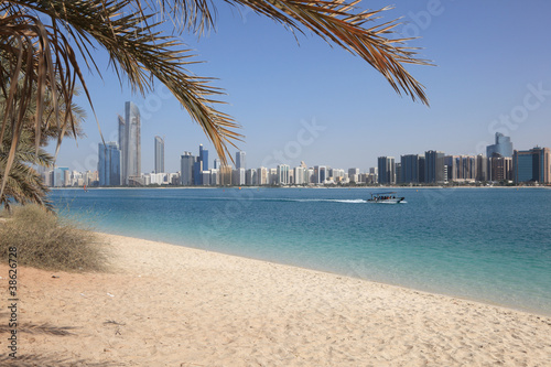 Beach and skyline of Abu Dhabi, United Arab Emirates