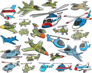 Aircraft Transportation Vector Illustration Set