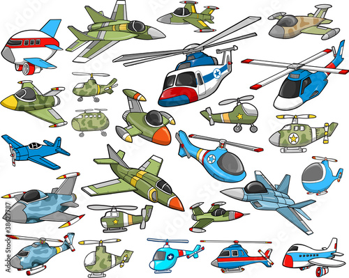 Aircraft Transportation Vector Illustration Set