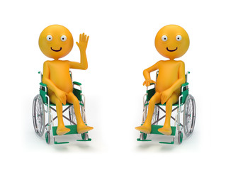Smiley characters on a wheelchair