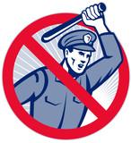 Police Brutality Policeman With Baton poster