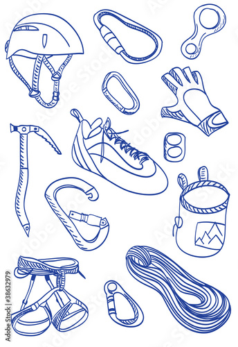 Mountain Climbing - doodle style illustration