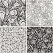 vector set with monochrome seamless  patterns